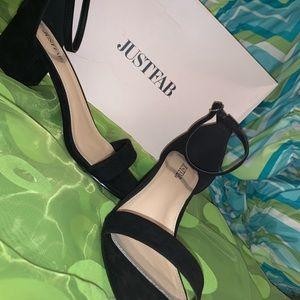 Black Strap Up Sandals
